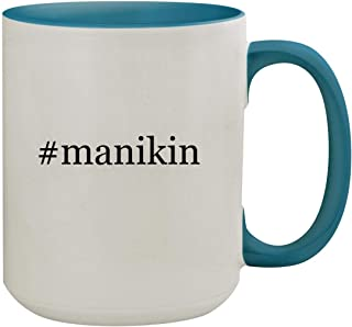 #manikin - 15oz Hashtag Ceramic Inner & Handle Colored Coffee Mug, Light Blue