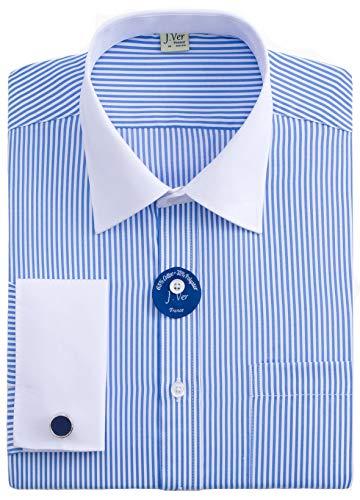 J.VER Hombres Doble Manguito Negocios Camisas de Vestir Formales con Gemelos de Metal Ajuste Regular Manga Larga - Color:Rayas 02 Azul, tamaño:EU 44 - Ärmellänge 89 cm