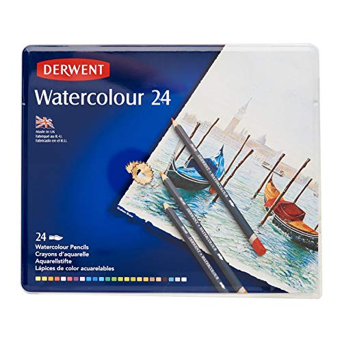 Derwent Colored Pencils, WaterColour, Water Color Pencils, Drawing, Art, Metal Tin, 24 Count (32883),Multicolor