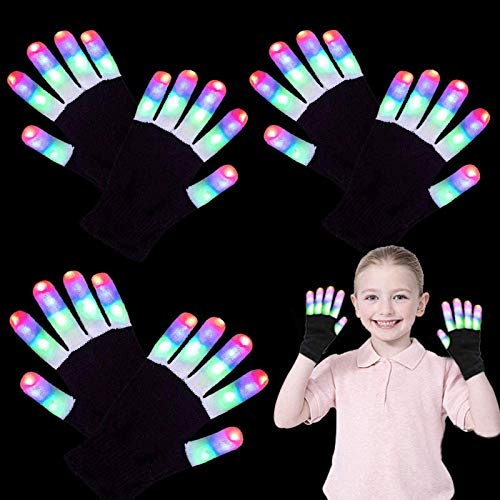 3 Pairs LED Gloves for Kids Teens Men Women, Neon Light Up Rave Glow Gloves 3 Colors 6 Modes Flashin - http://coolthings.us