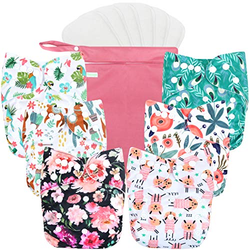 Wegreeco Washable Reusable Baby Cloth Pocket Diapers 6 Pack +