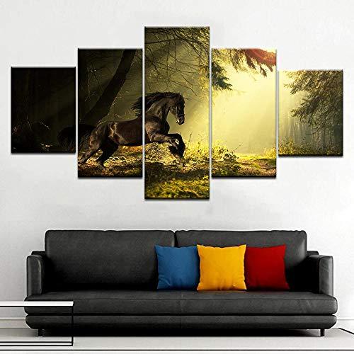 Yuansahn Pegatinas De Pared 5 Panel Hd Print A Horse Running Forest Animal Modernos Carteles De Pared Arte De La Lona Pintura Decoración De La Sala De Estar En El Hogar