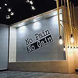 4.2 Feet Long Large Gym Wall Decal No Pain No Gain Gym Inspirational Wall Sticker