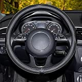 Funda Volante Coche, Cubierta de Volante de Cuero de Microfibra, Antideslizante Suave Universal 38 cm/15 Inch Protector Automóvil Adecuado para Todas Las Estaciones Elegante (Negro)