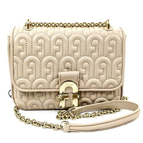 FURLA women's leather shoulder bag beige color