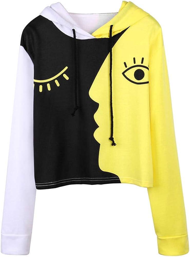 POTO Women Pullover Tops,Women's Casual Pattern Print Hooded Color Block Long Sleeve Crop Top Sweatshirts Hoodies