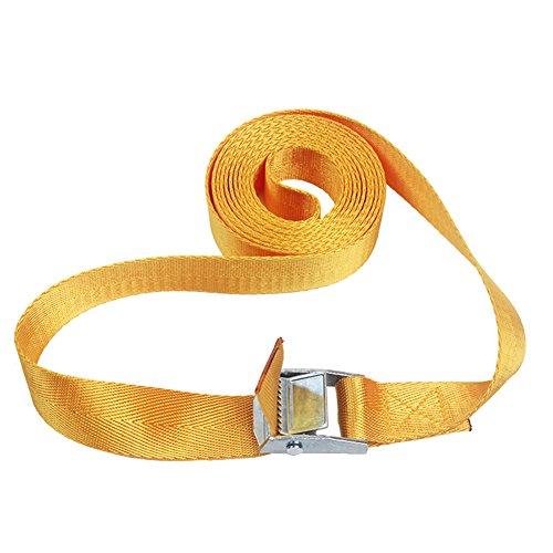 Correa ajustable de nailon, correas de hebilla de amarre de 1 a 4 m, correa de sujeción para equipaje de viaje con hebilla de metal o hebillas de leva (1M, Amarillo)