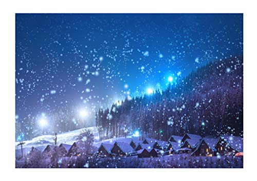 Leowefowa 9X6FT Christmas Backdrop Rustic Village Night View Forest Trees Snowing Shining Lights Blue Sky Winter Xmas Vinyl Photography Background Kids Children Adults Photo Studio Props