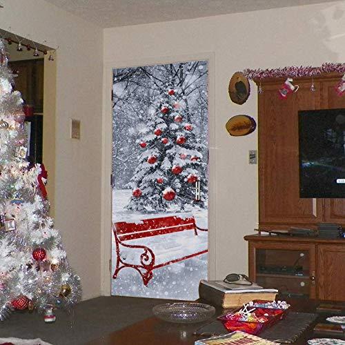 Türposter 3D Tür Aufkleber Selbstklebende Fototapete Abnehmbare Schlafzimmer Büro Wandaufkleber Dekoration 77X200 Cm (Rot Obst Weihnachtsbaum)