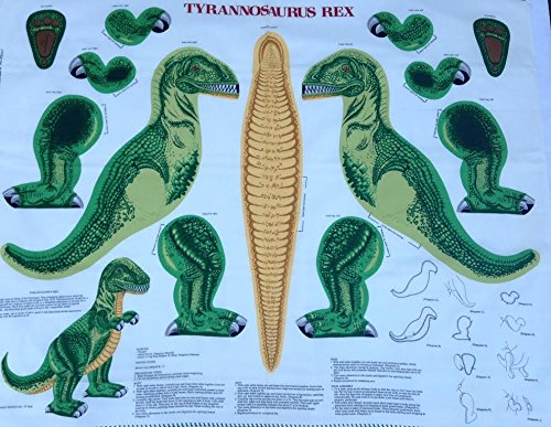 Tyrannosaurus Rex Pillow or Stuffed Animal Shaped Fabric Panel (Great for Sewing, Craft Projects, Pillows, Appliques and More) 16' Tall Dinosaur