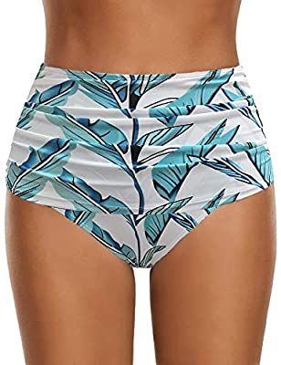 GRAPENT Women's High Waisted Swim Bottom Ruched Bikini Tankini Swimsuit Briefs