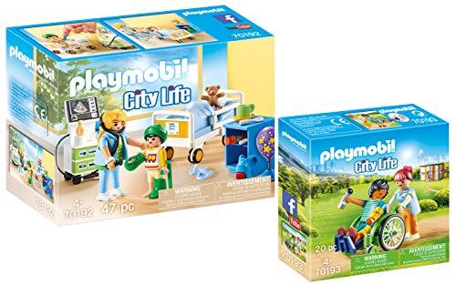Playmobil® City Life 2er Set 70192 70193 Kinderkrankenzimmer + Patient im Rollstuhl