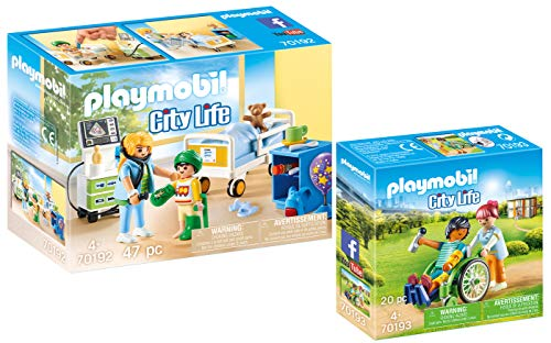Playmobil® City Life 2er Set 70192 70193 Kinderkrankenzimmer + Patient im Rollstuhl