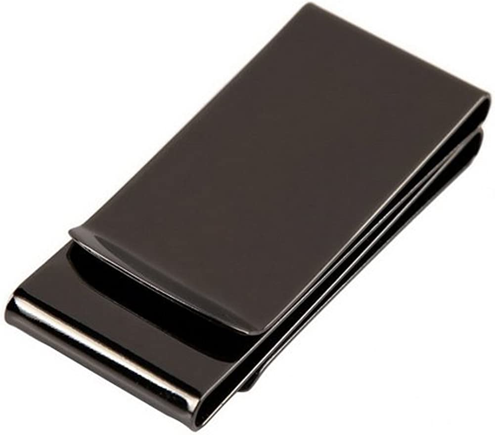 HONB Money Clip Wallet Credit Card Holder Slim Stainless Steel Aluminum Credit Card Wallet Cash Clip (Stainless Steel, Black Double sided)