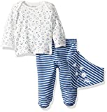 Little Me Lap Shoulders Set with Bib Camisa, Azul, 6 Meses para Bebés