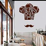 zhuziji Cocina Cocina Chef Sombrero francés Diseño Etiqueta de la Pared Barba Ollas y sartenes Decoración Fresca Restaurante Vinilo Pegatinas de pared42x50cm
