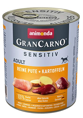animonda GranCarno Hundefutter Adult Sensitiv, Nassfutter für ausgewachsene Hunde, Reine Pute + Kartoffeln, 6 x 800 g