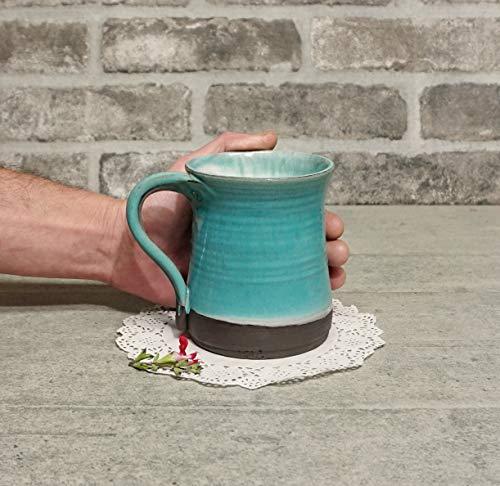 BIG Handmade mug, 20.2 Oz Pottery coffee mug, 600 ml Ceramic cup, Blue Green pottery mug, Tea ceramic mug, Gift idea, Israeli art, unique