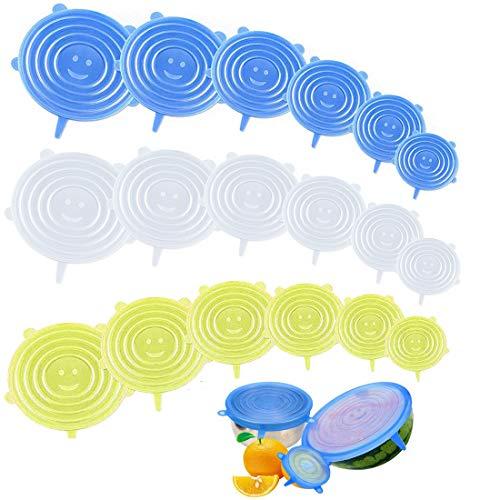 JiaHome - 18 Tapas de Silicona elásticas, Reutilizable Fundas Protectoras para Alimentos Tapa Tazas, Boles o Tarros,Sin BPA