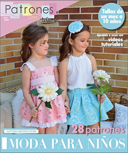 "Revista patrones de costura infantil, nº 4. Moda Primavera-verano, 28 modelos de patrones con tutoriales en vídeo (youtube), "" niña, niño, bebé"" Sewing instructions in English."