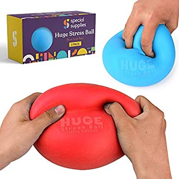Special Supplies 2 Huge Giant Stress Balls for Kids Adults Jumbo Size 2 Pack Colorful and Squishy Sensory Toys with Soft Squeezable Fill Low Dexterity and Anxiety Therapy
