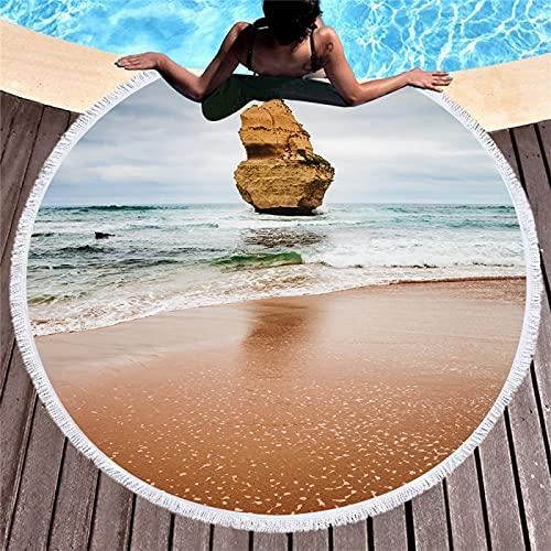 Toalla De Playa Redonda con Patrón De Impresión Digital 3D, Tapete De Playa Absorbente De Secado Rápido, Toalla De Microfibra, Toalla De Baño Tipo Chal 150 * 150cm