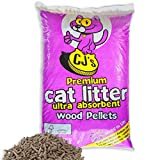 Cj's 30 L Premium Cat Litter Ultra Absorbent Wood Pellets Ideal for Cats, Rabbits, Poultry & Reptiles! Includes Tigerbox® Antibacterial Pen!