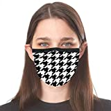 Fashionable Cloth Face Mask for Women and Men | Reusable and Washable Fabric | Decorative and Cute Masks by Designer Made in Midtown NYC | Black & White Houndstooth Sublimated Print Design