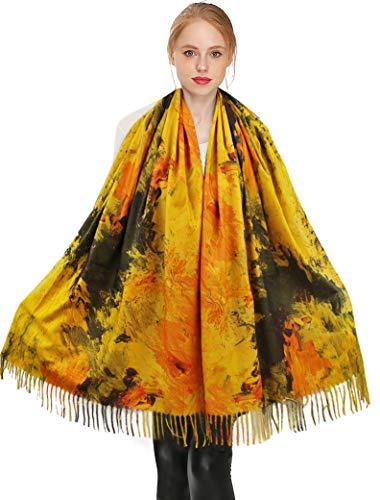 Longwu Bufanda de invierno 100% Cashmere Pashmina Chal Wraps Bufandas de manta cálidas y suaves para mujeres