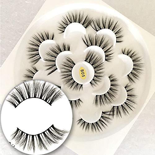 Vivien Mink Lashes 5D 7 Pairs Faux Mink Eyelashes Handmade Volume Fluffy Natural Look False Eyelashes 18mm Eyelashes Style B05 1