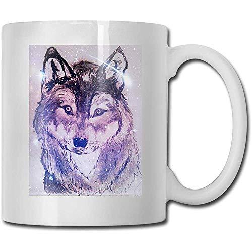 Nebulosa espacial Starry Wolf Las mejores ideas de regalos para el día del padre para tazas de café Taza divertida de regalo de Navidad Personalidad Copa de bebida 11 onzas (330 ml)