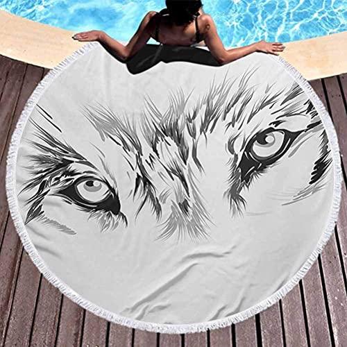 Toalla de playa sin arena Tattoo Toalla de playa de microfibra Winter Time Animal White Wolf con sus ojos que lucen rectos y feroces Arte para la playa o para colgar en la pared, blanco y negro (diáme
