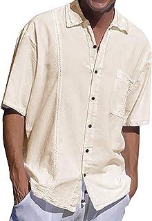 Fueri Men's Casual Shirt Men's Short Sleeve Linen Shirt Summer Regular Fit Casual Beach Linen Cotton Plain Men's Shirt Tops