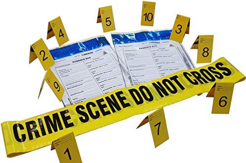 Kobe1 Crime Scene Kit:Crime Scene Do Not Cross Tape (6mx1),Evidence Bags (x2),Photo Evidence Frames(Cards:1 to 10),(7cm x 4cm Folded)