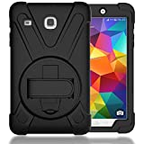 TIMISAM Samsung Galaxy Tab E 8.0 Case, Heavy Duty Hybrid Shockproof Protection Cover Built with Kickstand and Hand Strap for Samsung Galaxy Tab E 32GB SM-T378/Tab E 8.0 Inch SM-377 Tablet (Black)