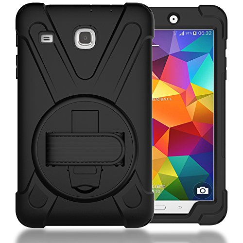 Case For Tab E 8.0' T377,Shockproof Hybrid Protective Shield Case Cover / Palm Handstrap for Samsung Galaxy Tab E 8.0' SM-T377A / T377V / T377P (W/ Black)