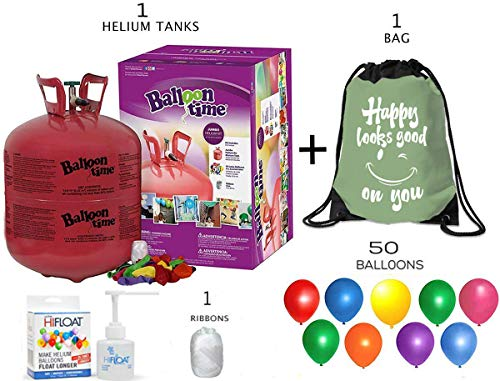 Balloon Time Disposable Helium Tank 14.9-50 Latex Party Balloons and Curling Ribbon + Hi float - Plus Drawstring Backpack Bag