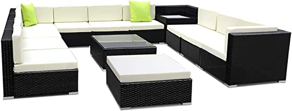 Gardeon 13pcs Outdoor Sofa Wicker Rattan Lounge Furniture Garden Patio