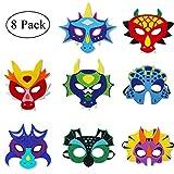 Felt Dragon-Masks for Kids-Boys Girls, Dinosaur Dress Up Dino Birthday Party Favors, 8 Pack