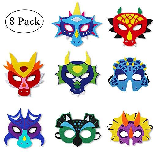Felt Dragon-Masks for Kids-Boys Girls Masquerade Party, Dinosaur Dress Up Dino Birthday Halloween Party Favors, 8 Pack