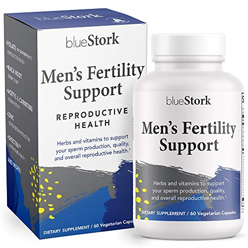 Blue Stork Men's Fertility Support: Fertility Supplements for Men, Multivitamin for Men, Reproductive Health + Conception Support, Maca Root + Folate + Vitamin B12 + L-Carnitine, 60 Capsules
