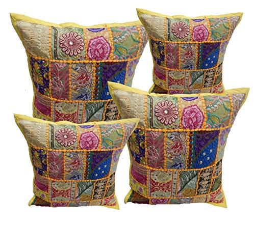 iinfinize - 4 fundas de cojín de suelo vintage bordadas de patchwork, funda de cojín cuadrada, 40 cm, funda de almohada para cojín otomano, puf, meditación, boho, hippie, decoración del hogar, sofá, silla, almohada
