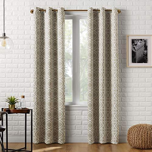 """Sun Zero Barnett Trellis Blackout Grommet Curtain Panel, 40"""" x 84"""", Taupe"""