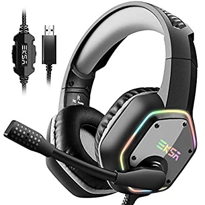 EKSA Gaming Headset with 7.1 Surround Sound Stereo, PS4 USB Headphones with Noise Canceling Mic & RGB Light, Compatible with PC, PS4, Laptop