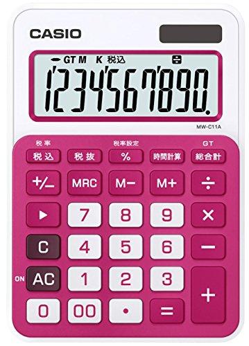 カシオ カラフル電卓 ミニジャストタイプ 10桁 MW-C11A-RD-N ルージュピンク
