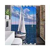 Bishilin 3D Duschvorhang Anti-Schimmel Schiff Vintage Duschvorhang 180x180 cm