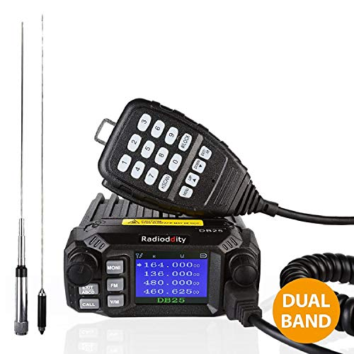 Radioddity DB25 Pro Dual Band Quad-standby Mini Mobile Car Truck Radio, VHF UHF 4 Color Display, 25W Vehicle Transceiver with Cable + 50W High Gain Quad Band Antenna