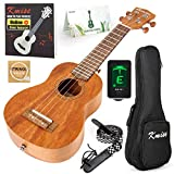 Soprano Ukulele Beginner Ukelele Start Kit Mahogany 21 Inch Hawaiian Uke (Gig Bag Tuner Strap String Instruction Booklet)