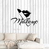 YuanMinglu Maquillaje Studio Window Wall Sticker Wall Shop Cosmetic Salon Beauty Lipstick Lip Gloss Mural Art 63 cm x 40.5cm