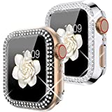 Goton Compatible for Apple Watch Case 40mm , (2 Packs) Women Girls Bling Crystal Hard Watch Face Cover Screen Frame Protector Bumper Case for iWatch SE / Series 6 / Series 5 / Series 4(Silver+Clear)